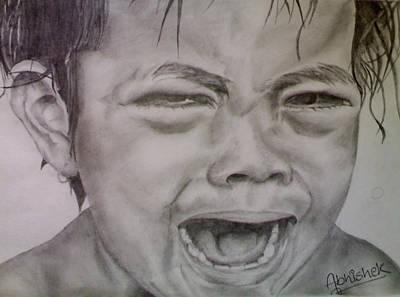 Tears Drawing - Orphan by Abhishek Chauhan