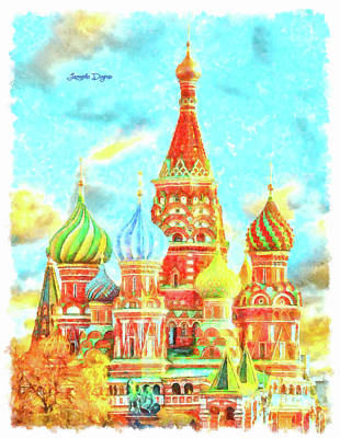 Sunny Day Painting - Ortodox Moscow - Watercolor Style by Leonardo Digenio