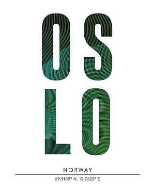 Mixed Media - Oslo, Norway - City Name Typography - Minimalist City Posters by Studio Grafiikka