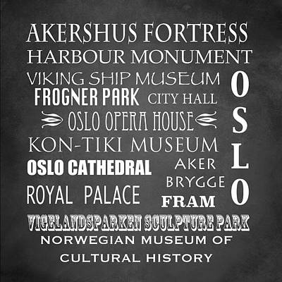 Oslo Famous Landmarks Print by Patricia Lintner
