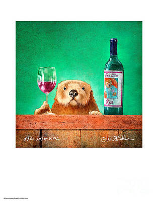 Otter Wall Art - Painting - Otter Into Wine... by Will Bullas