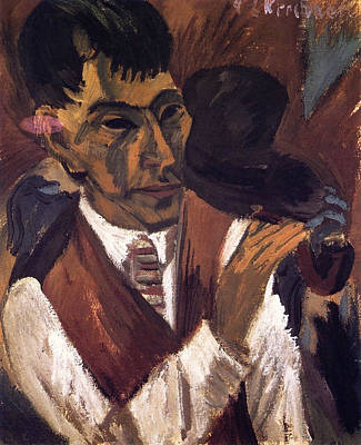 Expressive Painting - Otto Mueller With Pipe by Ernst Ludwig Kirchner