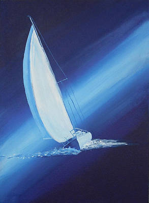 Ghost Ship Painting - Out Of The Blue    by Judy-Joy Bell