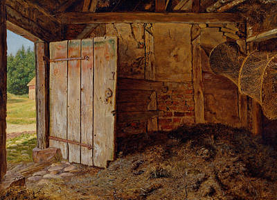 Outhouse Painting - Outhouse Interior by Christen Dalsgaard