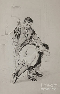 Drawing - Over His Knee by P Beloti