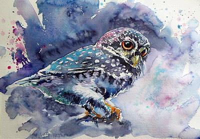 Owls Painting - Owl At Night by Kovacs Anna Brigitta
