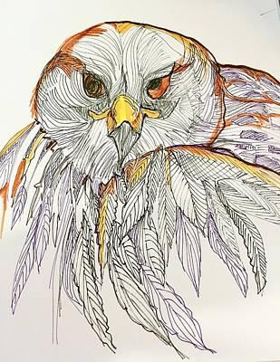 Wall Art - Drawing - Owl by Rosalinde Reece