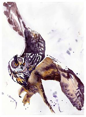 Falcon Painting - Owl Watercolor by Suzann's Art