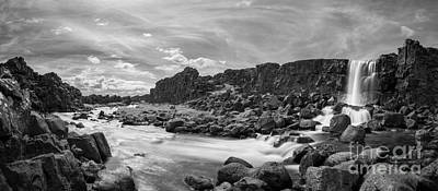Featured Tapestry Designs - Oxararfoss Waterfall Panorama by Michael Ver Sprill