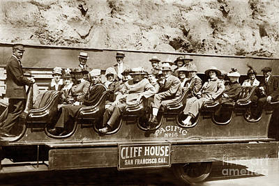 Photograph - Pacific Siteseeing Co Bus No. 15 With A Load Of Tourists On Point Lobos Rd. by California Views Archives Mr Pat Hathaway Archives