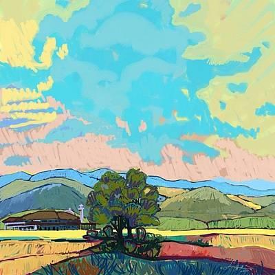 Inspired By Van Gogh Wall Art - Digital Art - Paddy Field In Impressionism  by Amy  Hashim