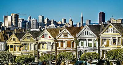 Photograph - Painted Ladies And San Francisco Skyline In California by Alex Grichenko