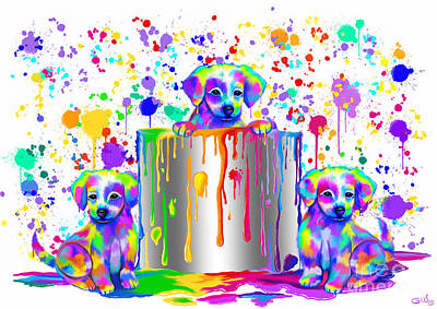 Drips Painting - Painted Puppies  by Nick Gustafson