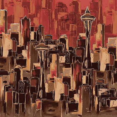 Painting - Painting 773 4 Seattle Skyline by Mawra Tahreem