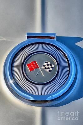 Transportation Painting - Painting Of 1966 Chevrolet Corvette Sting Ray 427 Turbo-jet Badge by George Atsametakis