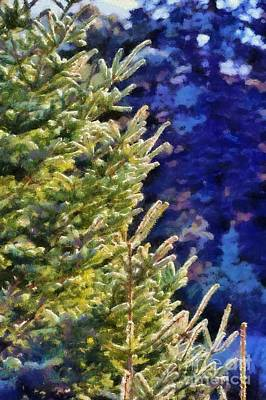 Painting - Painting Of Fir Tree Branches by George Atsametakis