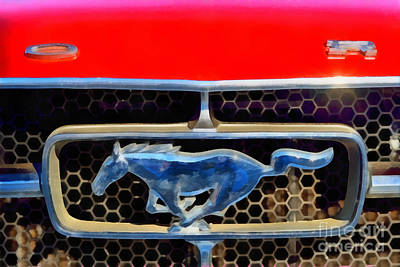 Ford Mustang Painting - Painting Of Ford Mustang Badge by George Atsametakis
