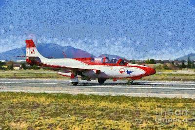 Painting - Painting Of Iskra Polish Air Force Team by George Atsametakis