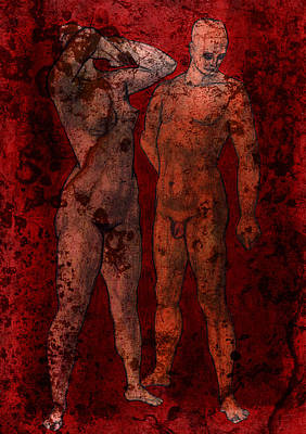 Mixed Media - Painting Of Nude Figures by Svelby Art
