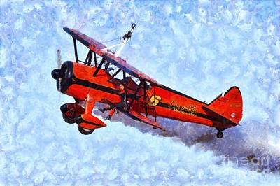 Painting - Painting Of Wingwalker Danielle by George Atsametakis