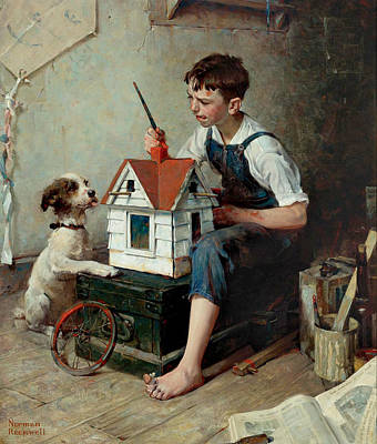 Norman Rockwell Painting - Painting The Little House by Norman Rockwell