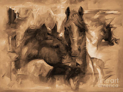 Landscap Painting - Pair Of Horses by Gull G
