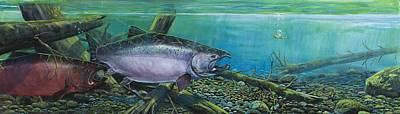 Salmon Painting - Pair Of Kings  by Scott Thompson