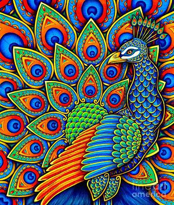 Multicolored Drawing - Paisley Peacock by Rebecca Wang