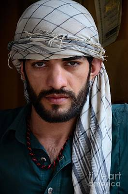 Photograph - Pakistani Pashtun Man Models With Headscarf And Necklace Peshawar Pakistan by Imran Ahmed