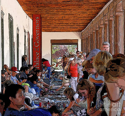 Mexico People Painting - Palace Of The Governors by David Lee Thompson