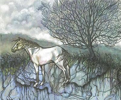 Lavender Drawing - Pale Horse by Jordan Montgomery
