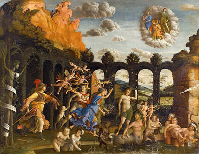 Myths Painting - Pallas Expelling The Vices From The Garden Of Virtue by Andrea Mantegna