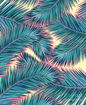 Pink Flower Digital Art - Palm Trees  by Mark Ashkenazi