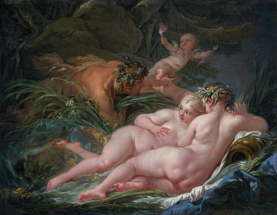 Legend Painting - Pan And Syrinx by Francois Boucher