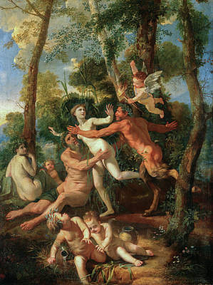 Shepherd Painting - Pan And Syrinx by Nicolas Poussin