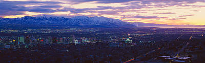 Panoramic Sunset Of Salt Lake City Print by Panoramic Images