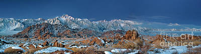 Photograph - Panoramic Winter Morning Alabama Hills Eastern Sierras California by Dave Welling