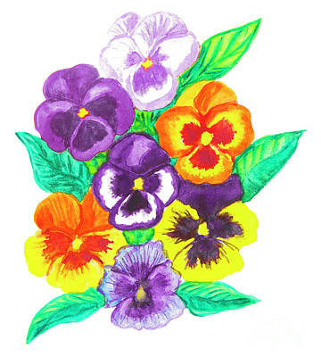 Painting - Pansies, Watercolour Painting by Irina Afonskaya