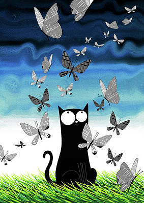 Cats Mixed Media - Paper Butterflies  by Andrew Hitchen