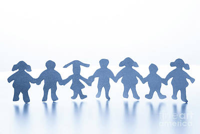Teamwork Photograph - Paper Children Standing Together Hand In Hand by Michal Bednarek