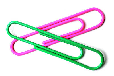 On Paper Photograph - Paper Clips Isolated On White by Donald Erickson
