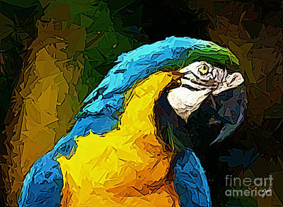 Digital Art - Pappagallo - Parrot Ara Ararauna by Zedi