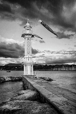 Bnw Photograph - Paquis Lighthouse Geneva Switzerland  by Carol Japp