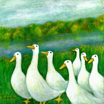 Painting - Parade Of White Ducks by Jeanne Kay Juhos