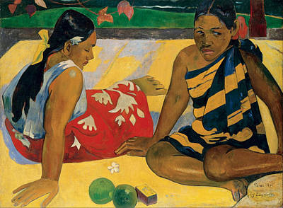 Outdoor Still Life Painting - Parau Api, What News by Paul Gauguin