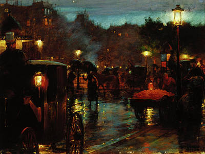 Wet On Wet Painting - Paris At Night by Mountain Dreams
