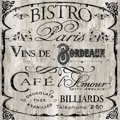 Restaurant Signs Painting - Paris Bistro    by Mindy Sommers