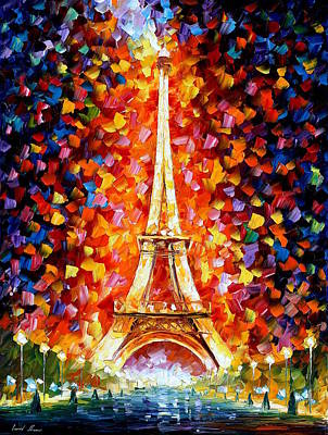 Painting - Paris Eiffel Tower Lighted by Leonid Afremov