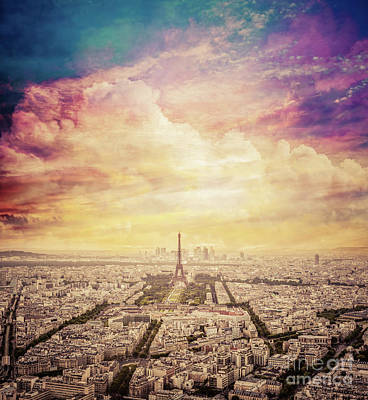 Photograph - Paris, France Skyline With Fantastic Unique Sunset Sky. Eiffel Tower In Warm Light by Michal Bednarek