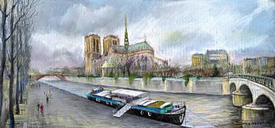 Pastels Pastel - Paris Notre-dame De Paris by Yuriy  Shevchuk